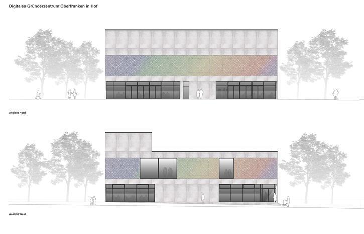 Planungsskizze zur Fassade - Digitales Gründerzentrum Hof