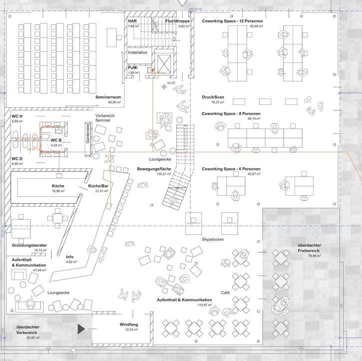 Planungsskizze Erdgeschoss Digitales Gründerzentrum Hof