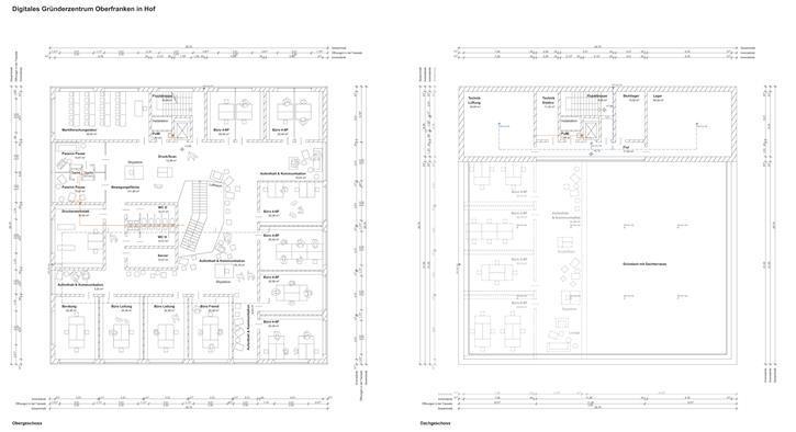 Planungsskizzen Obergeschoss und Dachgeschoss Digitales Gründerzentrum Hof