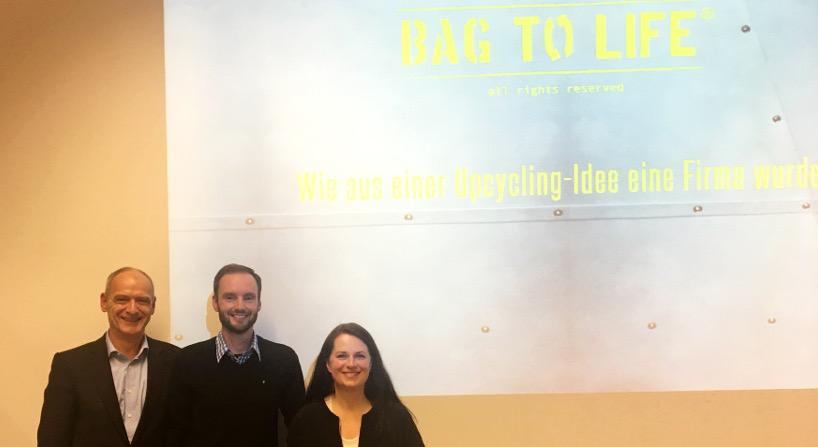 Vortrag Bag to life mit Herrn Hohenberger, Herr Gardeia und Frau Rank