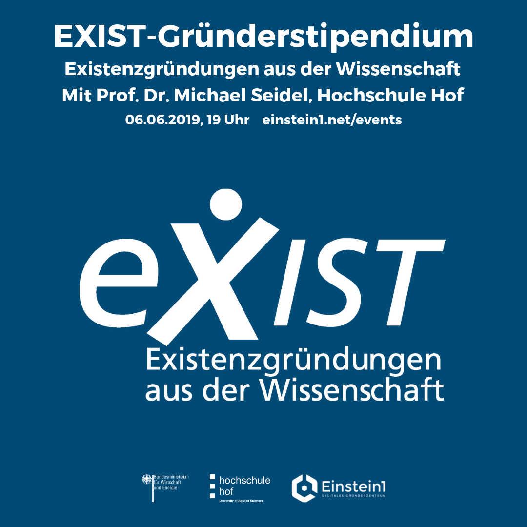 Teaser Vortrag EXIST Gründerstipendium Einstein1 Hof