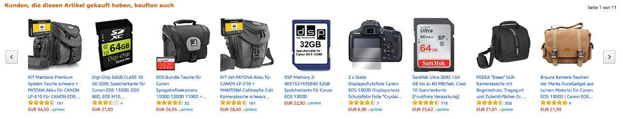 """Amazon """"Kunden, die diesen Artikel gekauft haben, kauften auch""""-Beispiel mit Digitalkamera-Zubehör"""