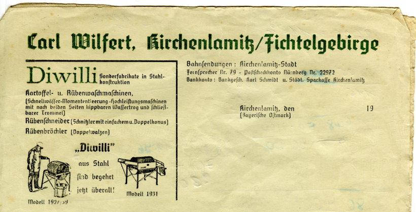 Diwilli - Kartoffel- und Rübenwaschmaschine von Carl Wilfert, Kirchenlamtiz