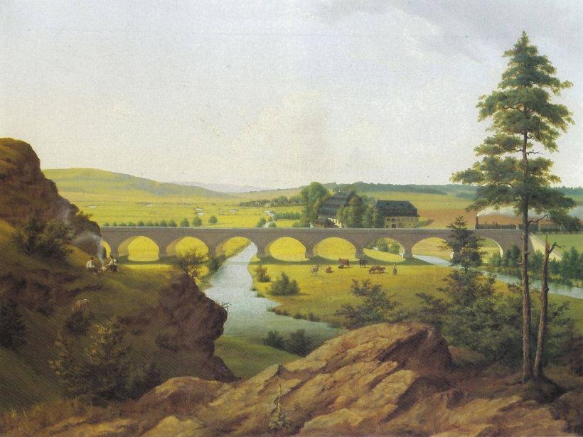 Die Hofer Papiermühle um 1850 von Georg Könitzer