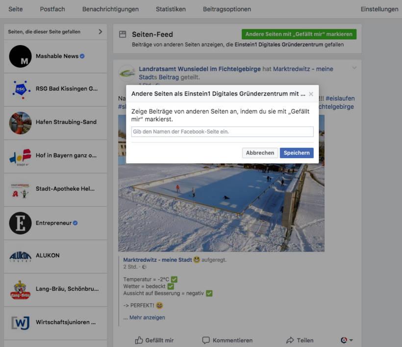"""Facebook - Andere Seiten mit """"Gefällt mir"""" markieren"""