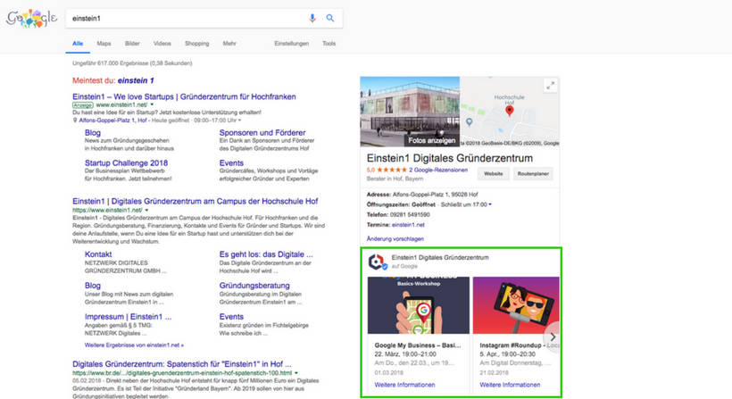 Google My Business Beiträge in den Google SERPs