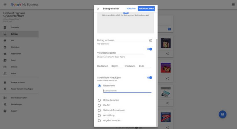 Google My Business Beiträge Dashboard