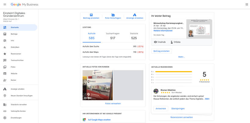 Google My Business Dashboard Einstein1