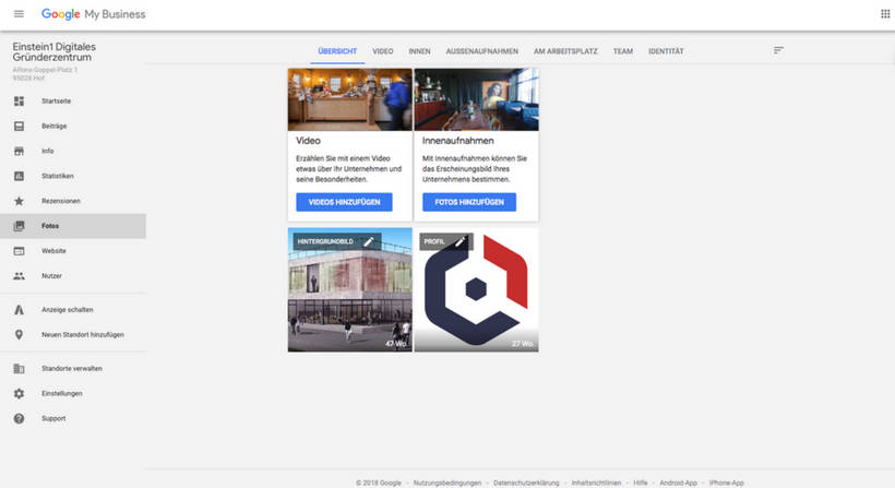 Google My Business Fotos und Videos