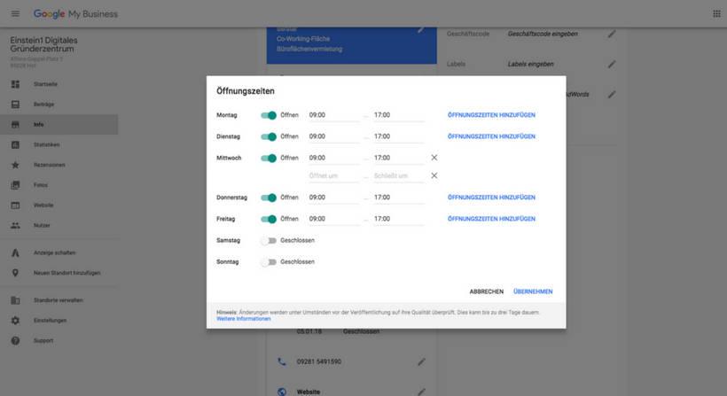 Google My Business Öffnungszeiten ändern