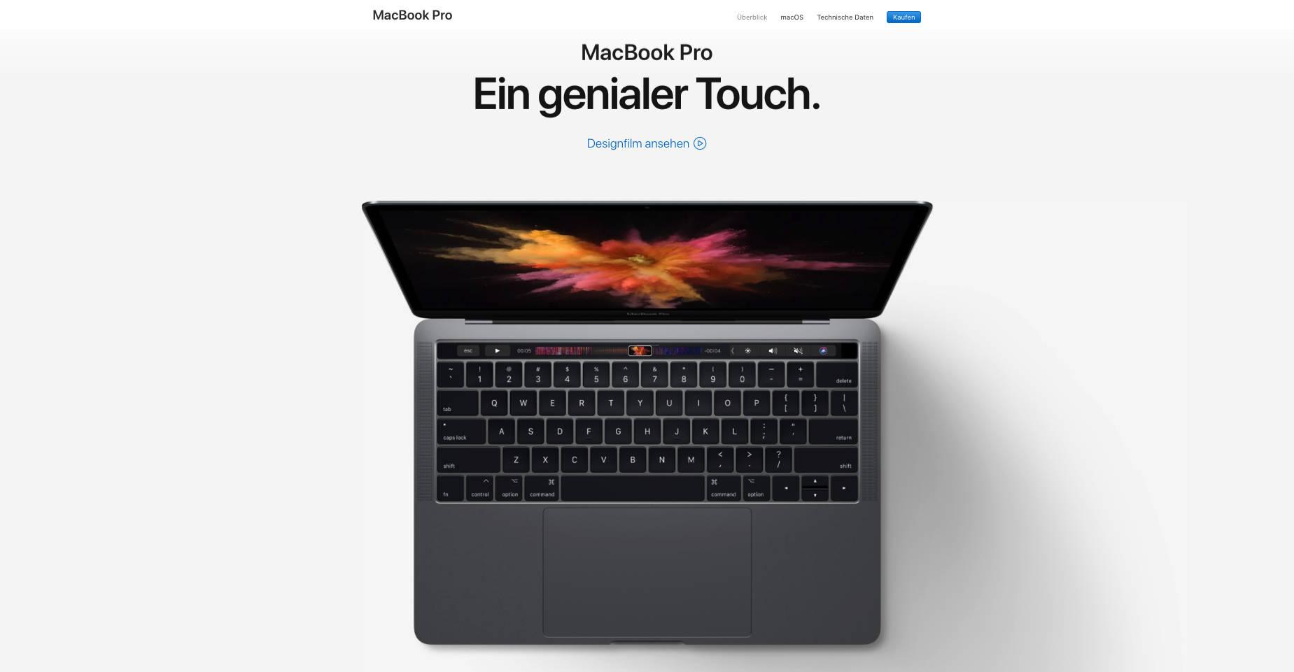 Macbook Pro Landing Page