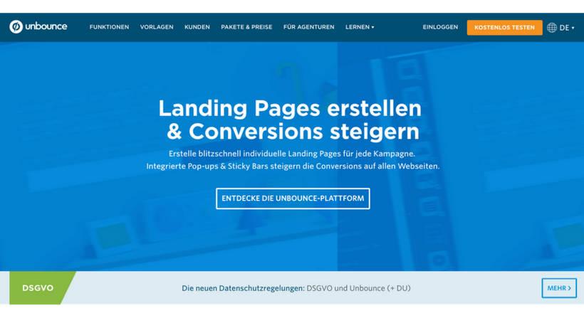 Headline und Subheadline der unbounce Landing Page