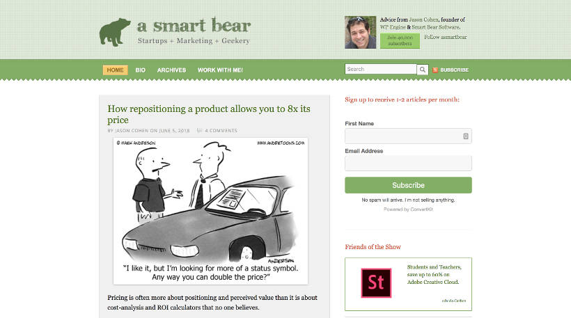 Startup Blogs - A Smart Bear Screenshot