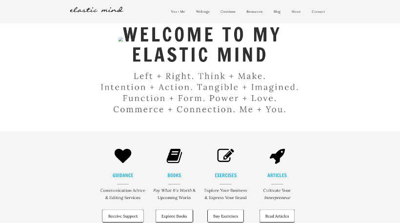 Startup Blogs - Elastic Mind Screenshot