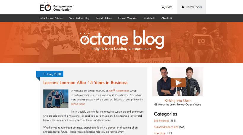 Startup Blogs - Entrepreneurs' Organization's Octane Blog Screenshot