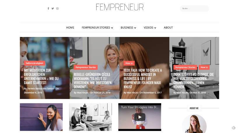 Startup Blogs - Fempreneur Screenshot