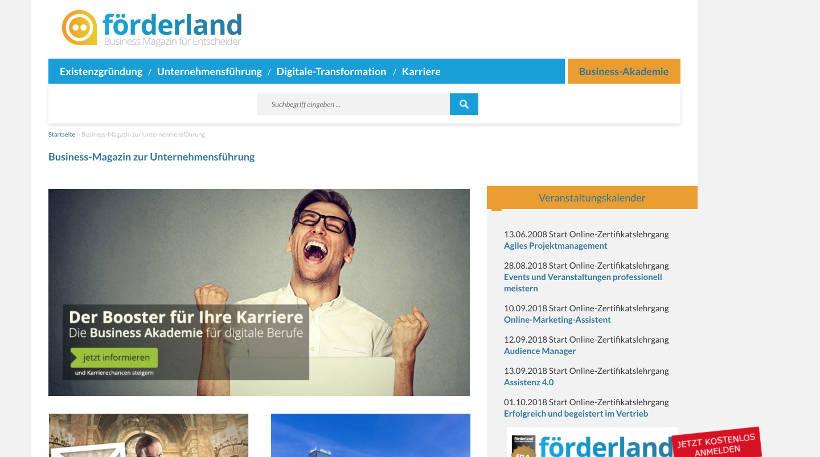 Startup Blogs - förderland Screenshot