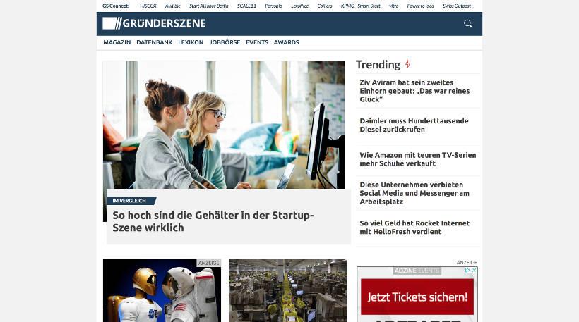 Startup Blogs - Gründerszene Screenshot