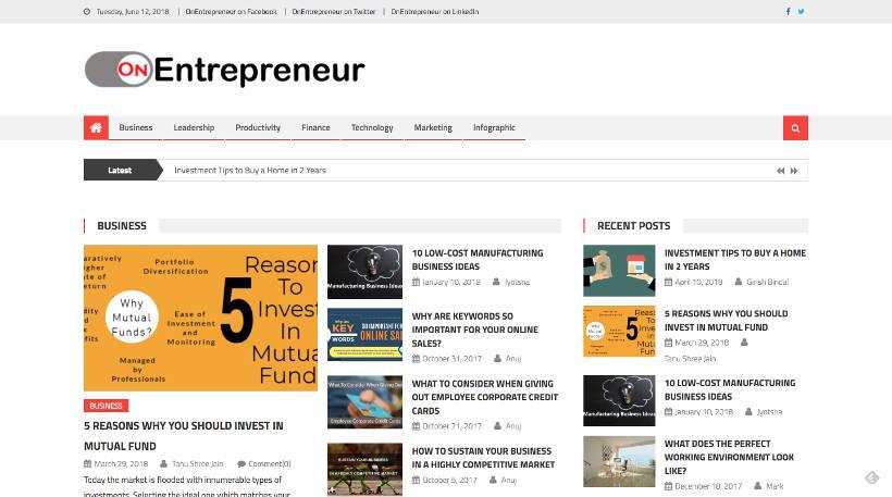 Startup Blogs - OnEntrepreneur Screenshot