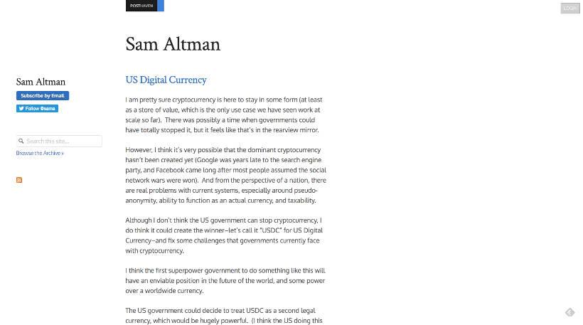 Startup Blogs - Sam Altman Screenshot