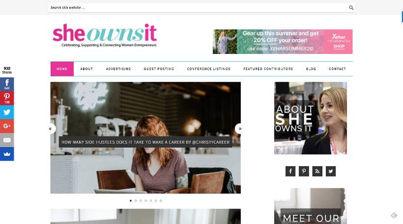 Startup Blogs - She Wons It Screenshot