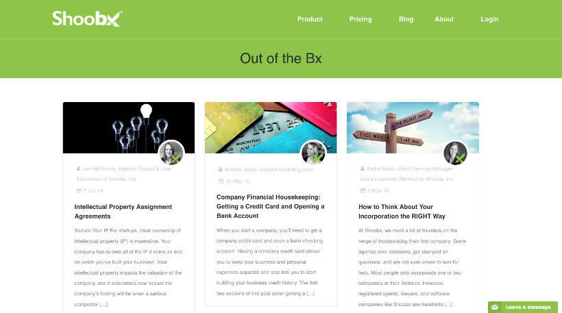 Startup Blogs - Shoobx Screenshot