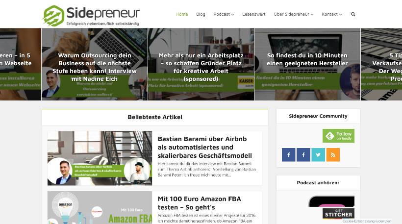 Startup Blogs - Sidepreneur Screenshot
