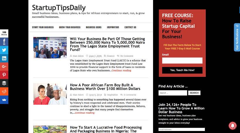Startup Blogs - StartupTipsDaily Screenshot