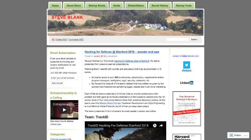 Startup Blogs - Steve Blank Screenshot