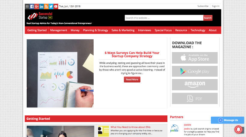 Startup Blogs - Successful Startup 101 Screenshot