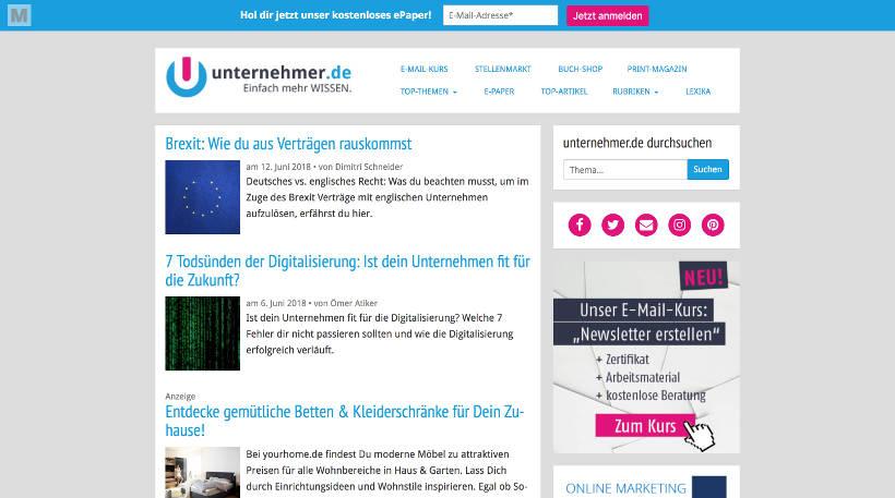 Startup Blogs - Unternehmer.de Screenshot