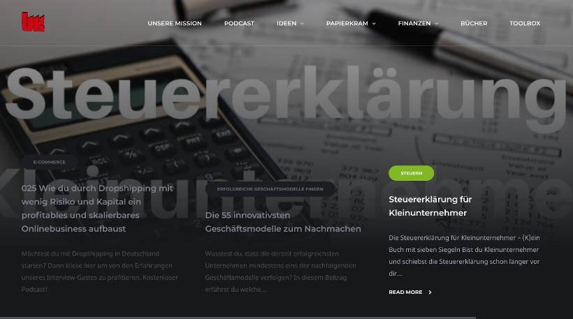 Startup Blogs - Unternehmerkanal Screenshot