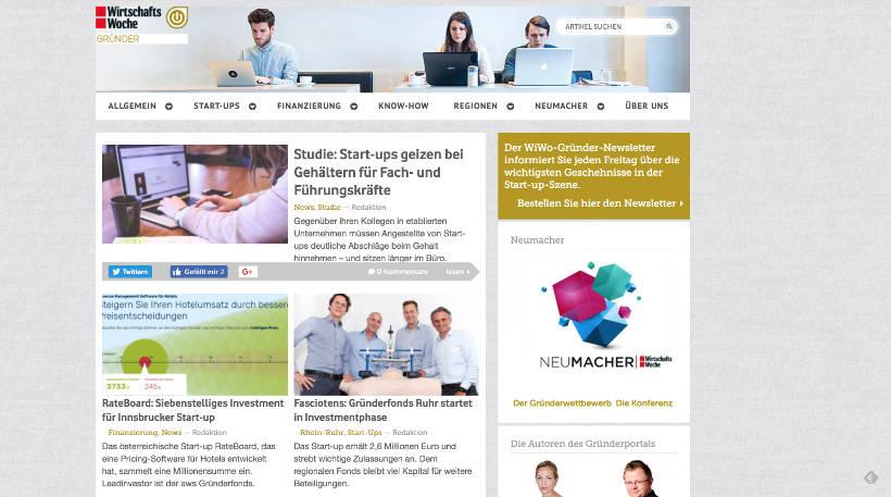 Startup Blogs - WiWo Gründer Screenshot