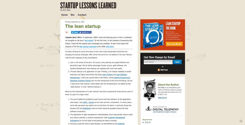 "Erster Blog-Post von Eric Ries zu ""The lean startup"" am 08. September 2008 auf seinem Blog ""Startup Lessons Learned"""