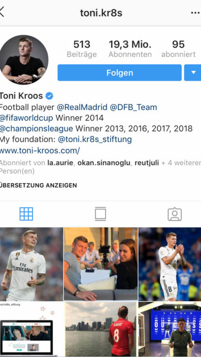 Instagram-Screenshot von Toni Kroos