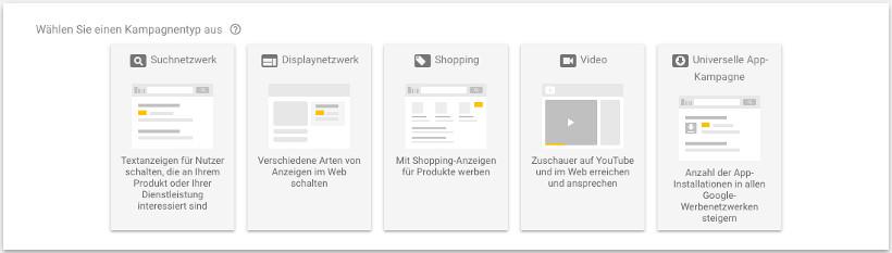 Google Ads Kampagnentypen