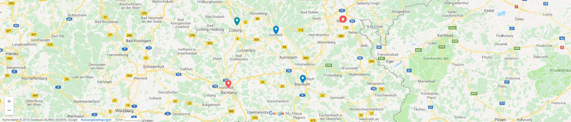 Google Map der digitalen Gründerzentren in Oberfranken