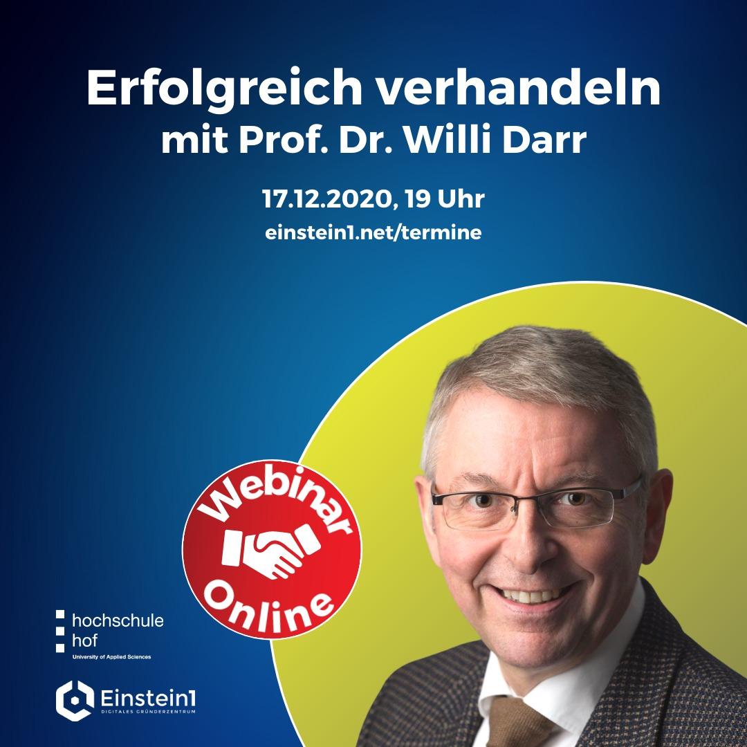 Erfolgreich verhandeln: Webinar mit Prof. Dr. Willi Darr