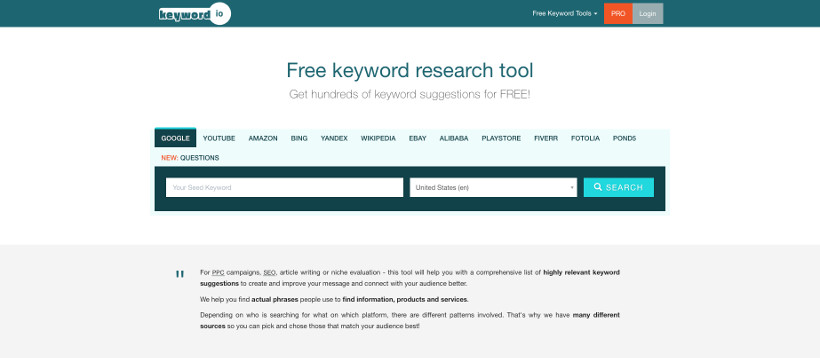 keyword.io Screenshot