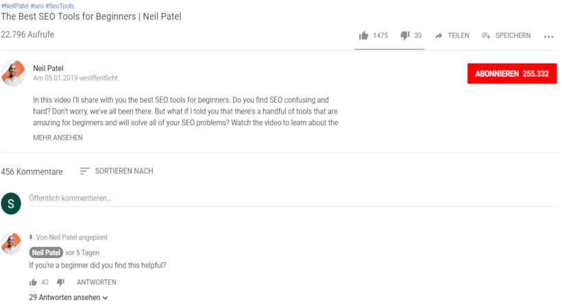 YouTube Screenshot Neil Patel SEO Videos