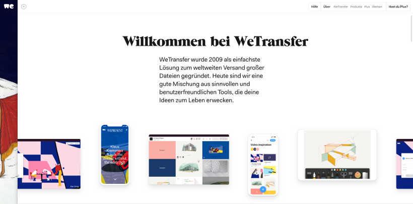 WeTransfer Screenshot