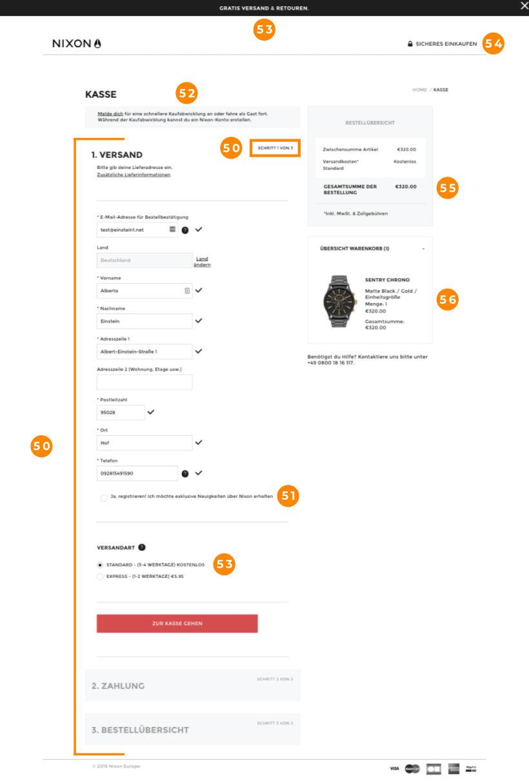 E-Commerce Checkout Nixon Schritt 1
