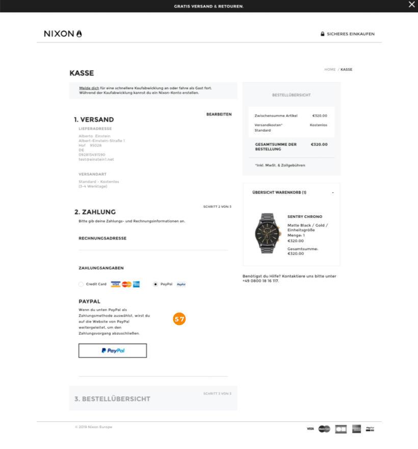 E-Commerce Checkout Nixon Schritt 2
