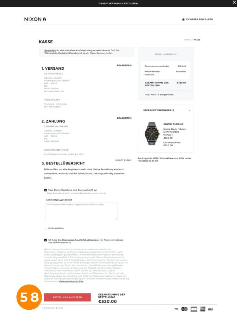 E-Commerce Checkout Nixon Schritt 3