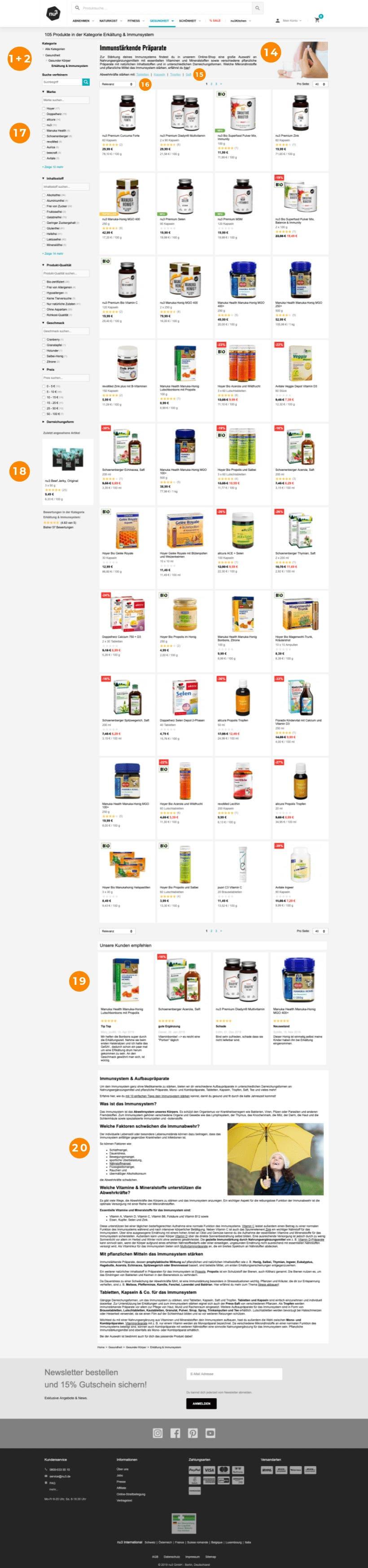Produktkategorie-Seite von nu3