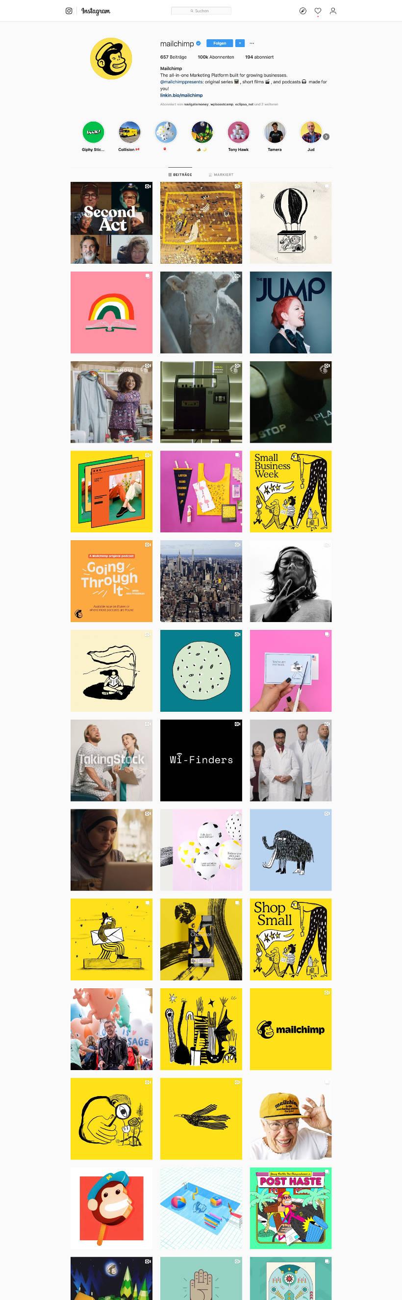 Mailchimp Instagram Screenshot