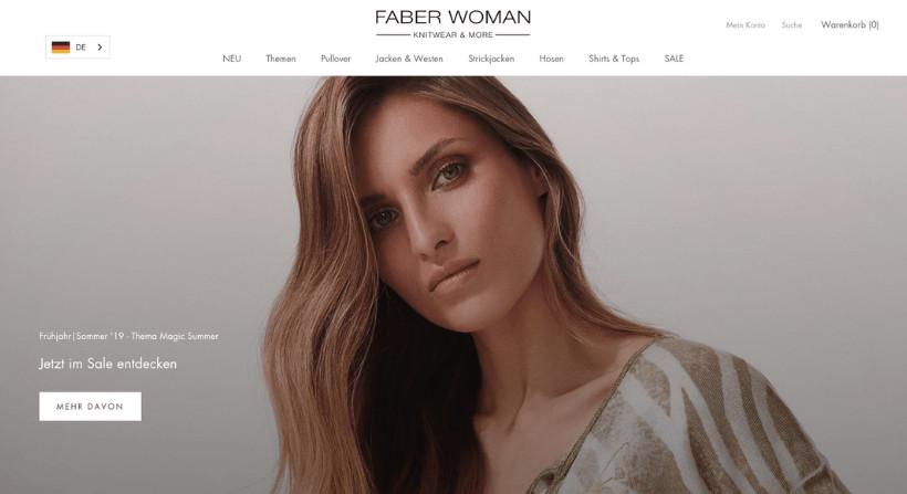 FABER WOMAN Online Shop Screenshot