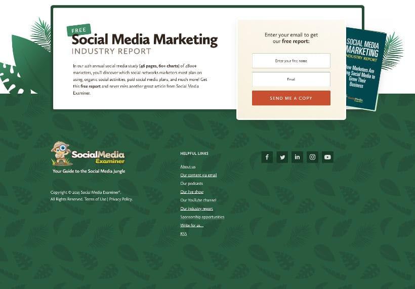 Footer Beispiel Social Media Examiner