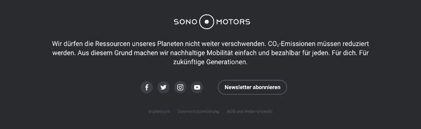 Footer Beispiel Sono Motors