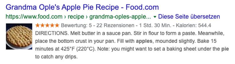 Recipe Schema Markup Beispiel